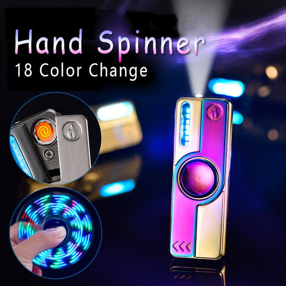 Top Grade Metal Fidget Spinning Cigarette Lighter - USB Chargeable