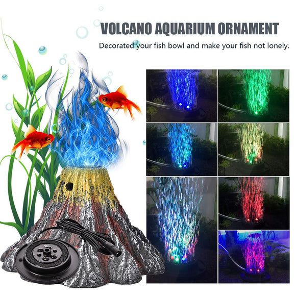 Volcano Aquarium Decoration Kit - Underwater LED Light and Air Pump