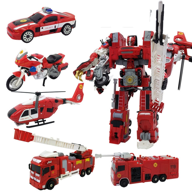 TAORISFUN - New Alloy And Plastic Transformer Robot, Emergency Vehicles 5in1 Model Megabot Toy For Adult and Child