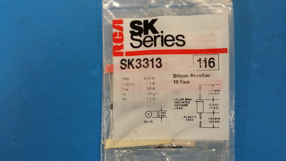(1 PACK OF 10 PCS) SK3313 RCA Diode 600V 1A 2-Pin DO-41