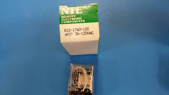 (1 PC) R12-17A3-120 NTE POWER RELAY 4PDT 120VAC 5A PLUG IN