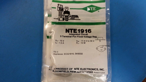 (1 PC) NTE1916, ECG1916, SK9332, 3 Terminal Postive Fixed Voltage Regulator