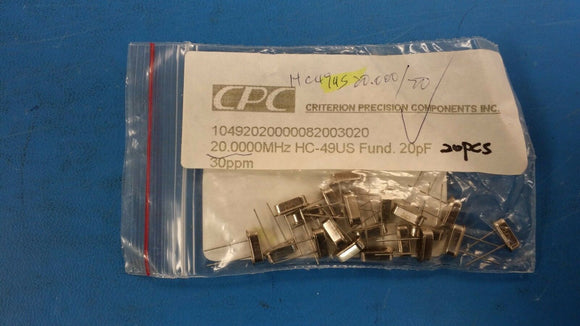 (10 PCS) HC-49US20.0000MHz, 20pf, Crystal, Criterion Precision Components