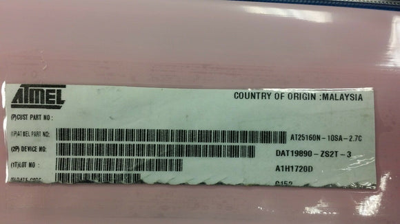 (10 PCS) AT25160N-10SA-2.7C ATMEL EEPROM, 2KX8, Serial, CMOS, SOIC8