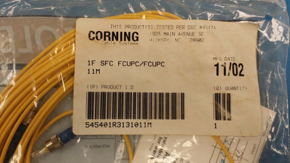 (1PC) 1F-SFC-FCUPC/FCUPC-11M CORNING CABLE SYSTEMS Fiber Optics Junper Cable 11M