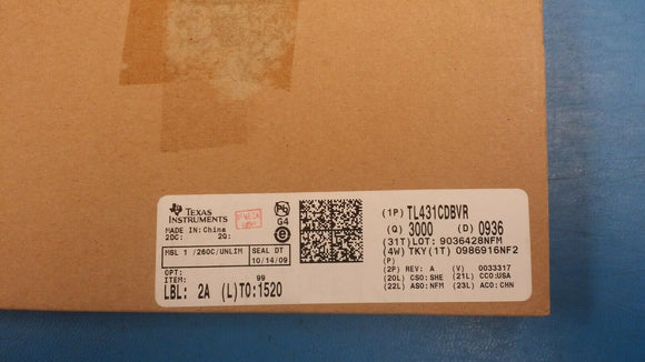 (3000) TL431CDBVR V-Ref Adjustable 2.495V to 36V 100mA 5-Pin SOT-23 ROHS 0936D/C