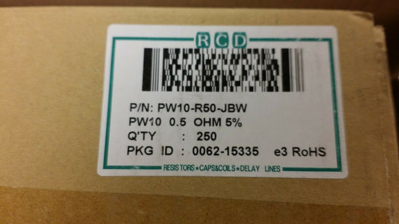 (250) PW10-R50-JBW RCD Wirewound Cement Power Resistor 0.5 Ohm 5% 10W Axial ROHS