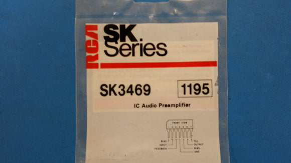 (1 PC) SK3469 RCA (NTE1195 EQUAL) IC LOW NOISE HIGH GAIN AUDIO PREAMPLIFIER