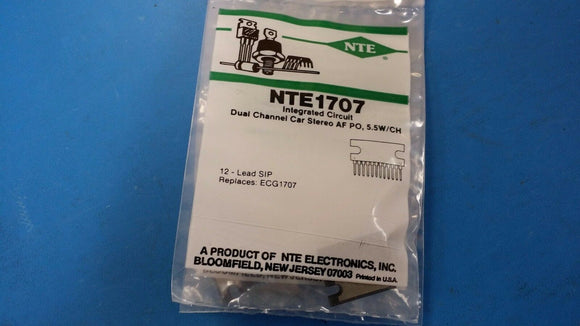 (1 PC) NTE1707, ECG1707, Integrated Circuit, AF Power Amp, 5.5W/Channel