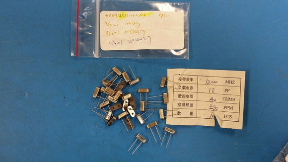 (10 PCS) HC-49US12.0000MHz, 18pf, Crystal, Criterion Percision Components