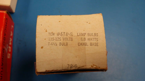 (BOX 0F 10) CHICAGO MINIATURE #6T4 1/2 LAMP BULBS 115-125V 6.0W