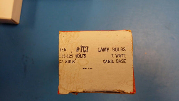 (BOX OF 10) CHICAGO MINIATURE 7C7 PANEL LAMP 115-125V 7W