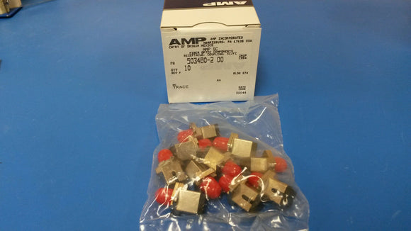 (BOX OF 10) 503480-2 AMP Fiber Optic Connectors ADAPTER METAL SIM SC/FC CER