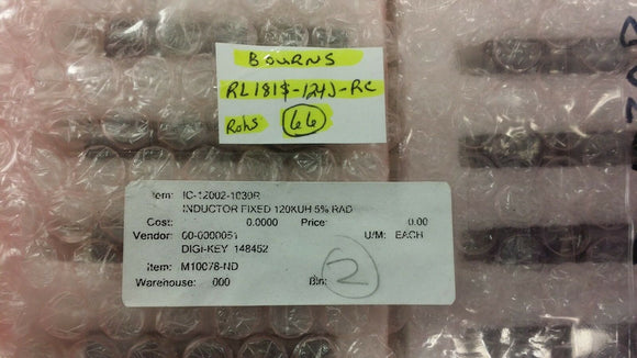 (5 PCS) RL181S-124J-RC BOURNS Fixed Inductor 120000uH 5% Radial ROHS