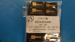 (1) R114.673.840 RF SMB Conn Female Panel Mt, Board Mt, Solder Term. Receptacle