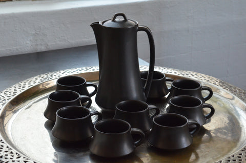 vintage mid-century ebony tea set