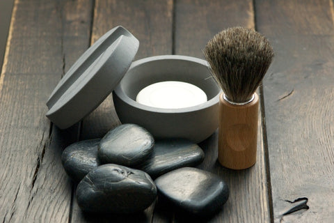 concrete shaving bowl + brush