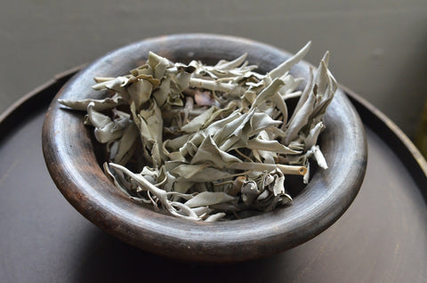white ceremonial burning sage
