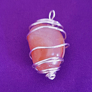CARNELIAN WITH SILVER WIRE WRAP