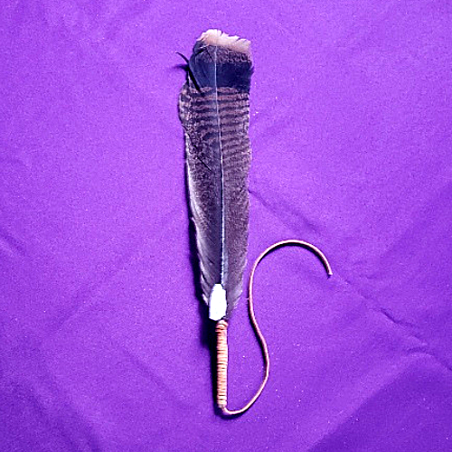 SACRED FEATHER FOR SAGING WITH CLEAR QUARTZ 4