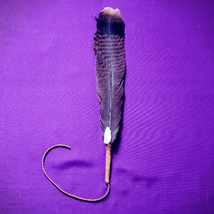 SACRED FEATHER FOR SAGING WITH CLEAR QUARTZ