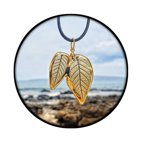 Handmade Ceramic Whole Leaf Pendants- 22K Gold Glaze| The Hana Collection Jewelry