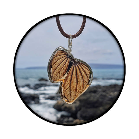 Handmade Ceramic Whole Leaf Pendants- 22K White Gold Glaze| The Hana Collection Jewelry