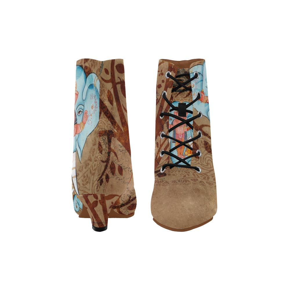 Brown Ganesha Chic Low Heel Ankle High Boots - Maui Woke