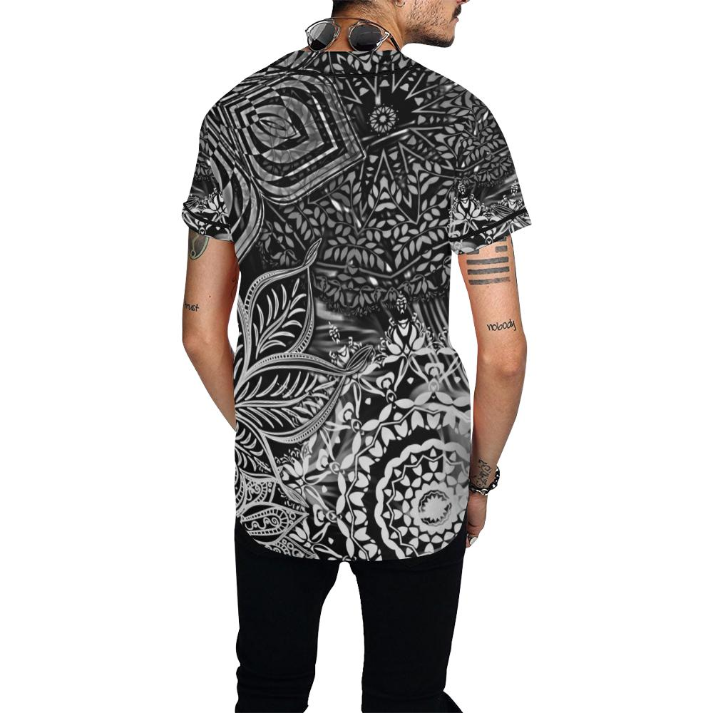 Sacred Geometry Black\White Baseball Jersey - Maui Woke