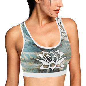 Rustic Lotus White Trim Sports Bra - Maui Woke