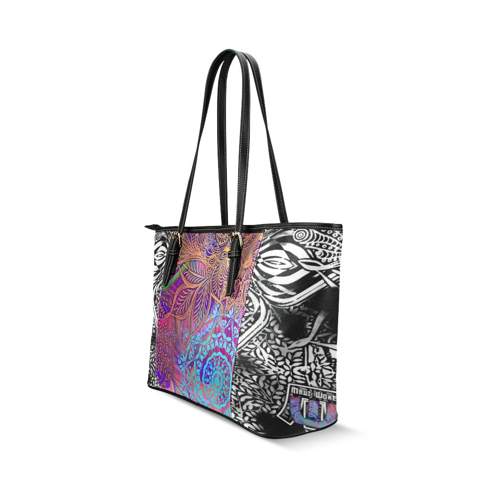 Sacred Geometry Multi Color Leather Tote Bag-SHD|Maui Woke, Sacred Geometry - Maui Woke