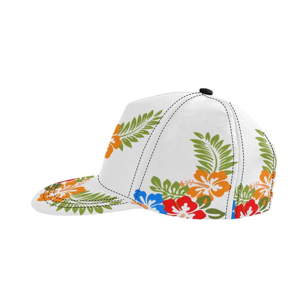 Hawaiian White All Over Print Snapback Cap D - Maui Woke