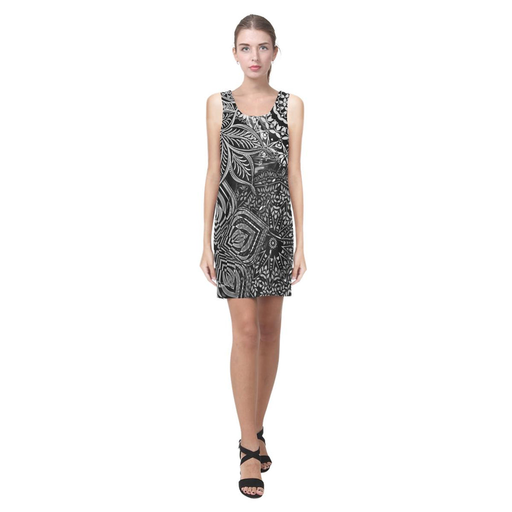 Sacred Geometry Blk/Wt Sleeveless Dress - Maui Woke