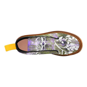 Purple Lotus Lace Up Canvas Boots - Maui Woke