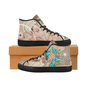 Tan Ganesha Women's Vancouver High Top Canvas Shoes-SHD|Maui Woke, Ganesh - Maui Woke