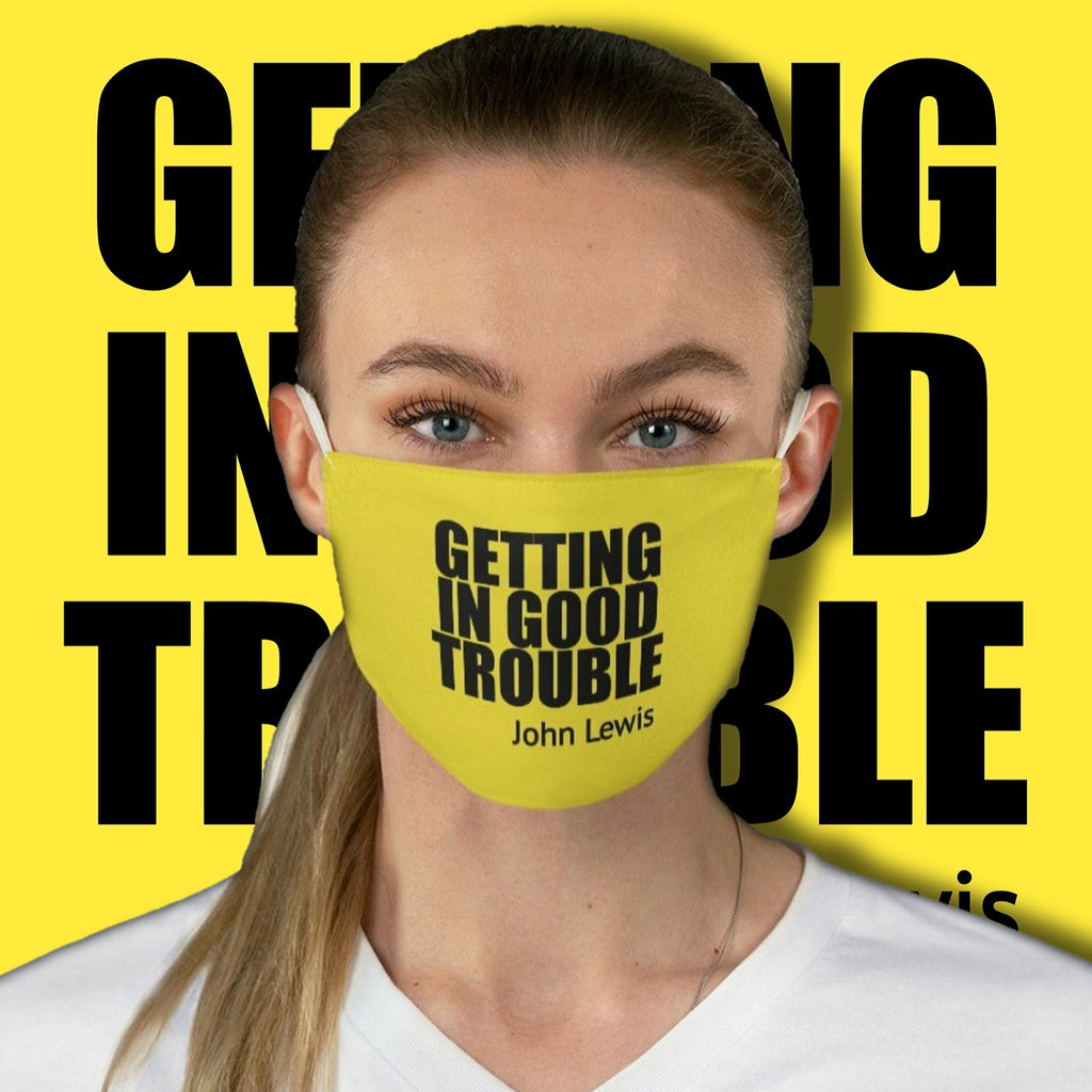 Political Meme Getting In Good Trouble • Yellow Fabric Face Mask 🔥 SALE⚡20% OFF