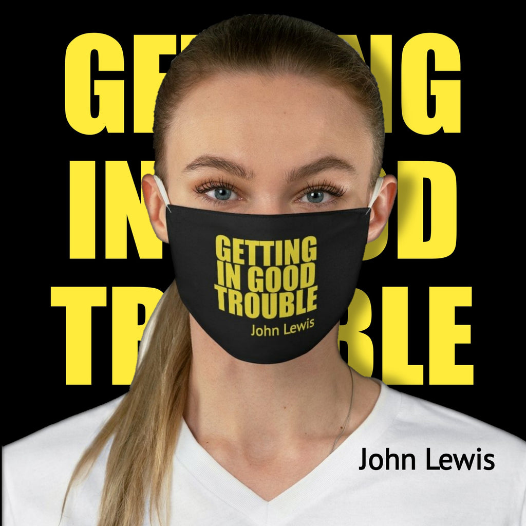 Political Meme Getting In Good Trouble • Black Fabric Face Mask 🔥 SALE⚡20% OFF