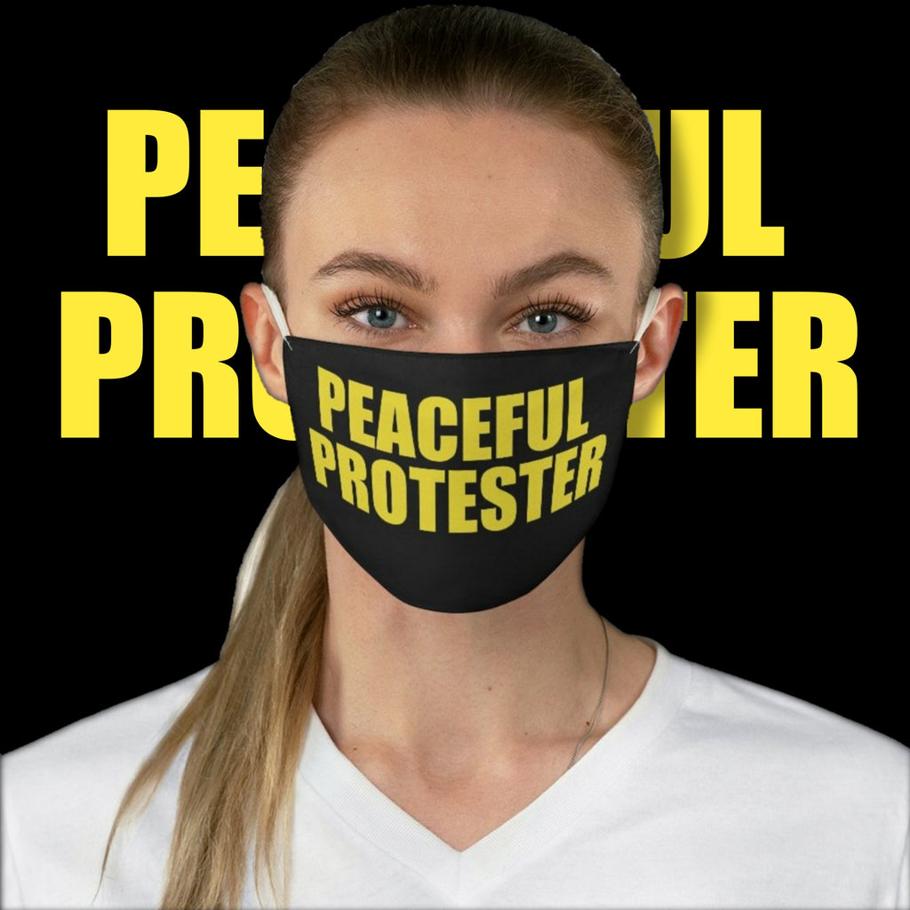 Political Meme Peaceful Protester • Black Fabric Face Mask 🔥 SALE⚡20% OFF
