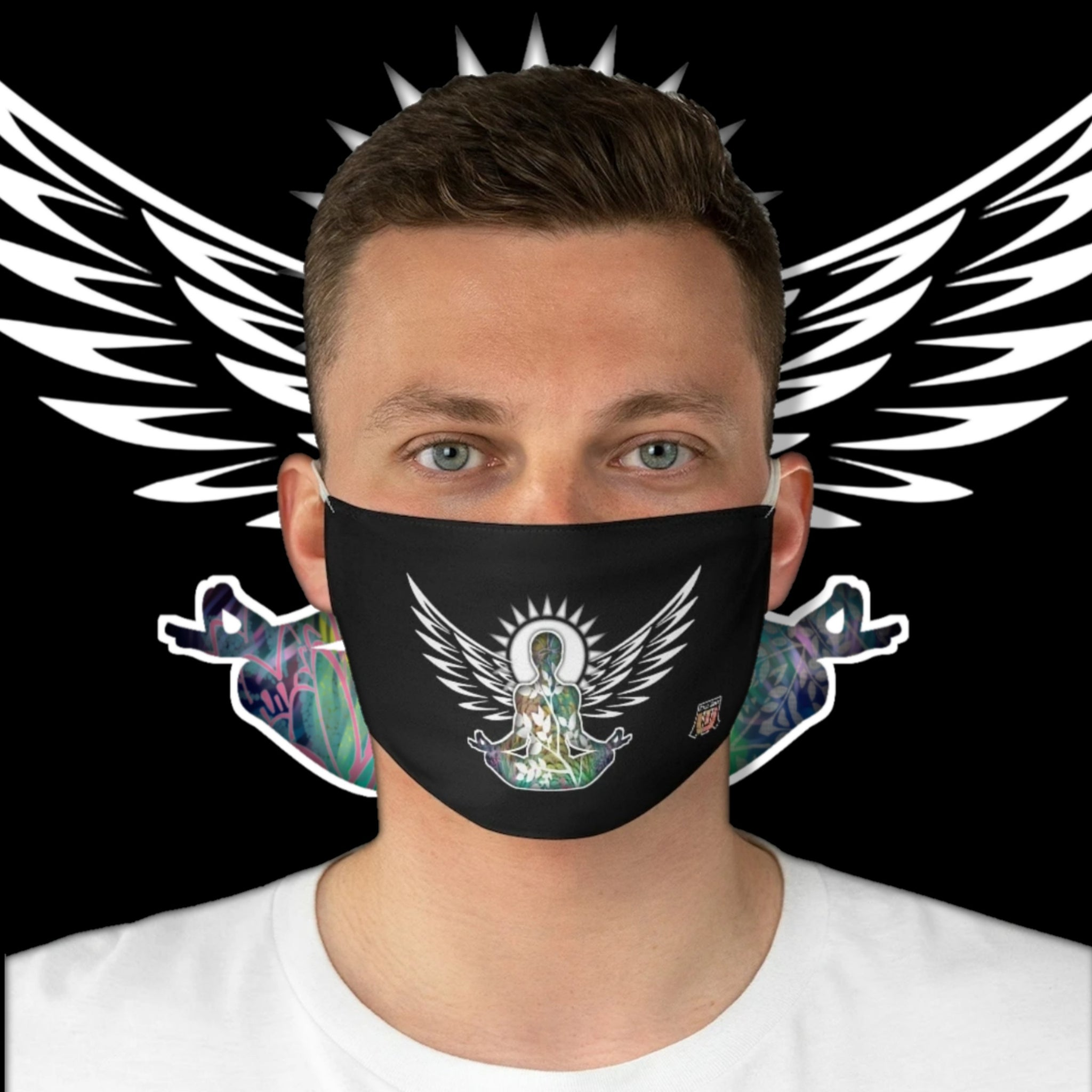 Casual Wings To Fly • Black Fabric Face Mask - Maui Woke