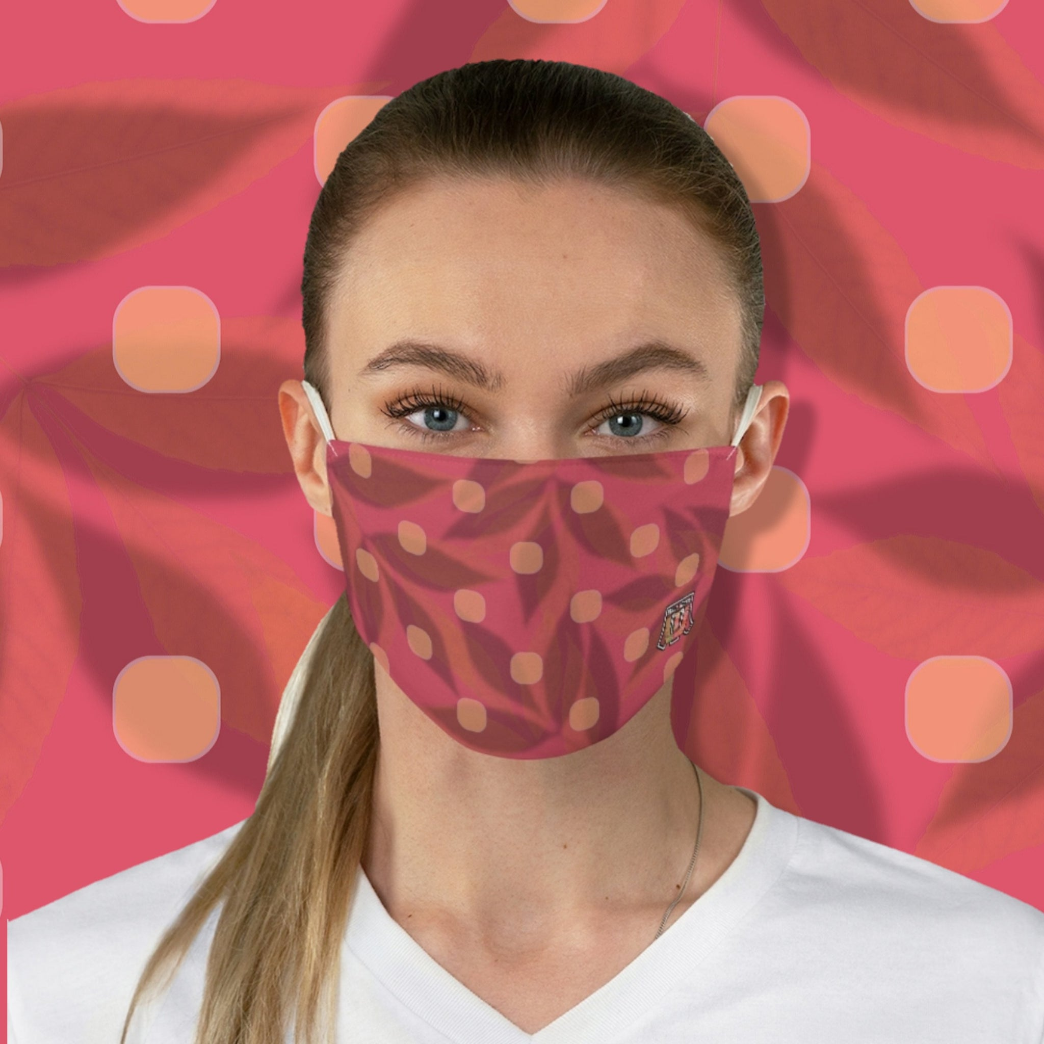 Colorful Colors Of India • Warm Pink Polkadot Fabric Face Mask - Maui Woke