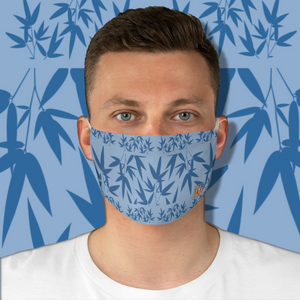 Casual Bamboo Hike • Partly Cloudy Skies Blue Fabric Face Mask - Maui Woke