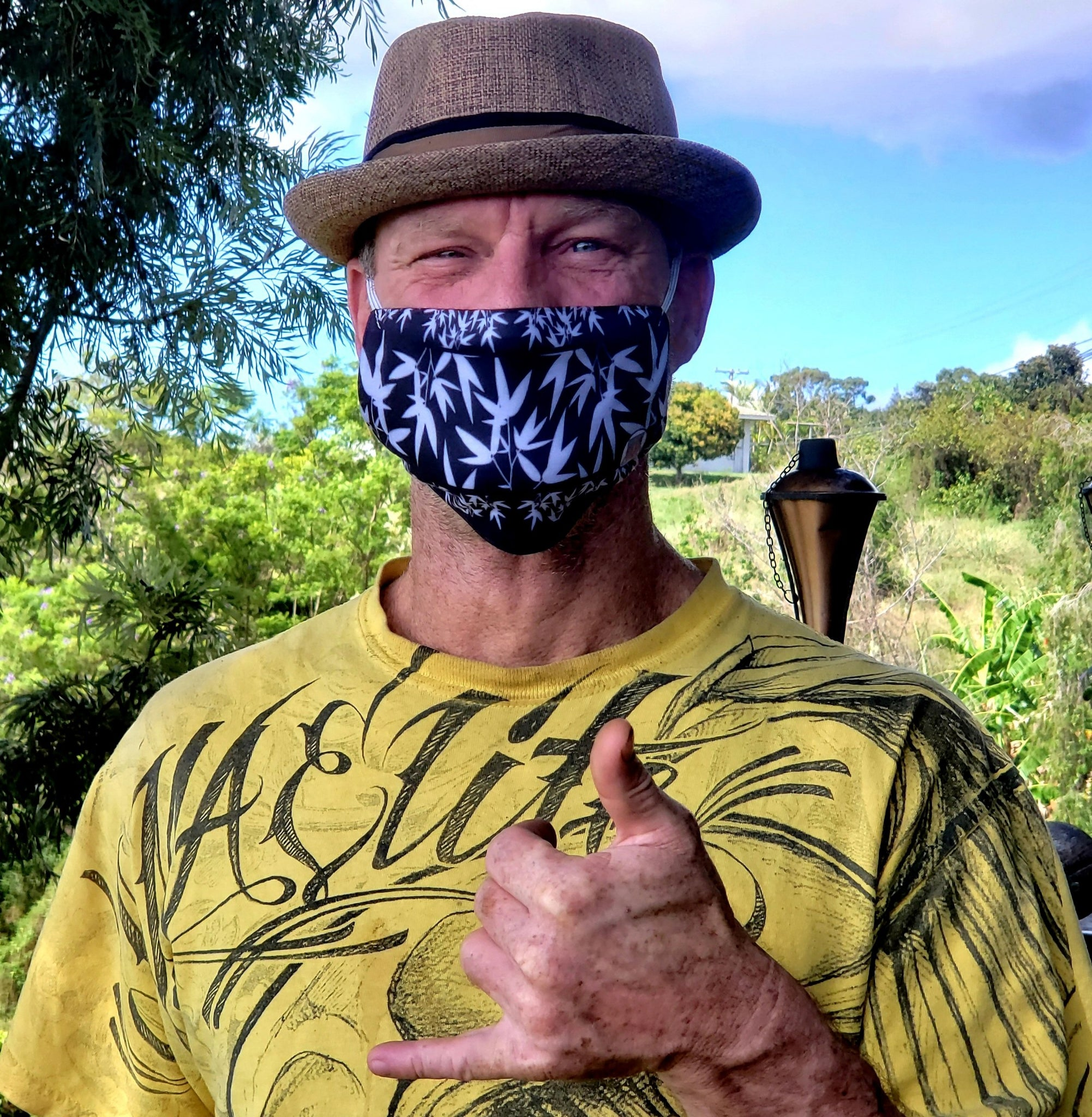 Casual Bamboo Hike • Lava Rock Black Fabric Face Mask - Maui Woke