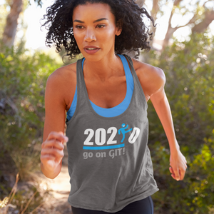 Go on GIT! 2020 A Humorous MEME • Kick • White & Blue • Women's Racerback Tank