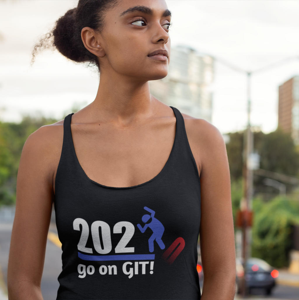 Go On GIT! 2020 A Humorous MEME • Stomp • Red, White & Blue • Women's Racerback Tank