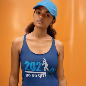 Go On GIT! 2020 A Humorous MEME • Stomp • White & Blue • Women's Racerback Tank