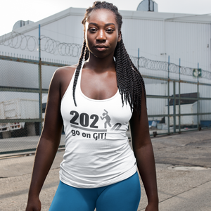 Go On GIT! 2020 A Humorous MEME • Stomp • Black & Gray • Women's Racerback Tank