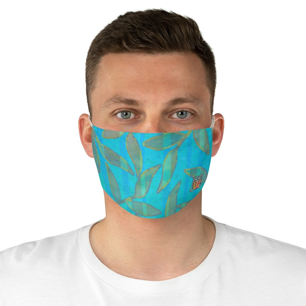 Colorful Leaves Pattern • Turquoise, Green Stripped Fabric Face Mask - Maui Woke