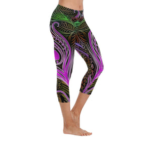 Purple Tantric Peacock Low Rise Capri Leggings - Maui Woke