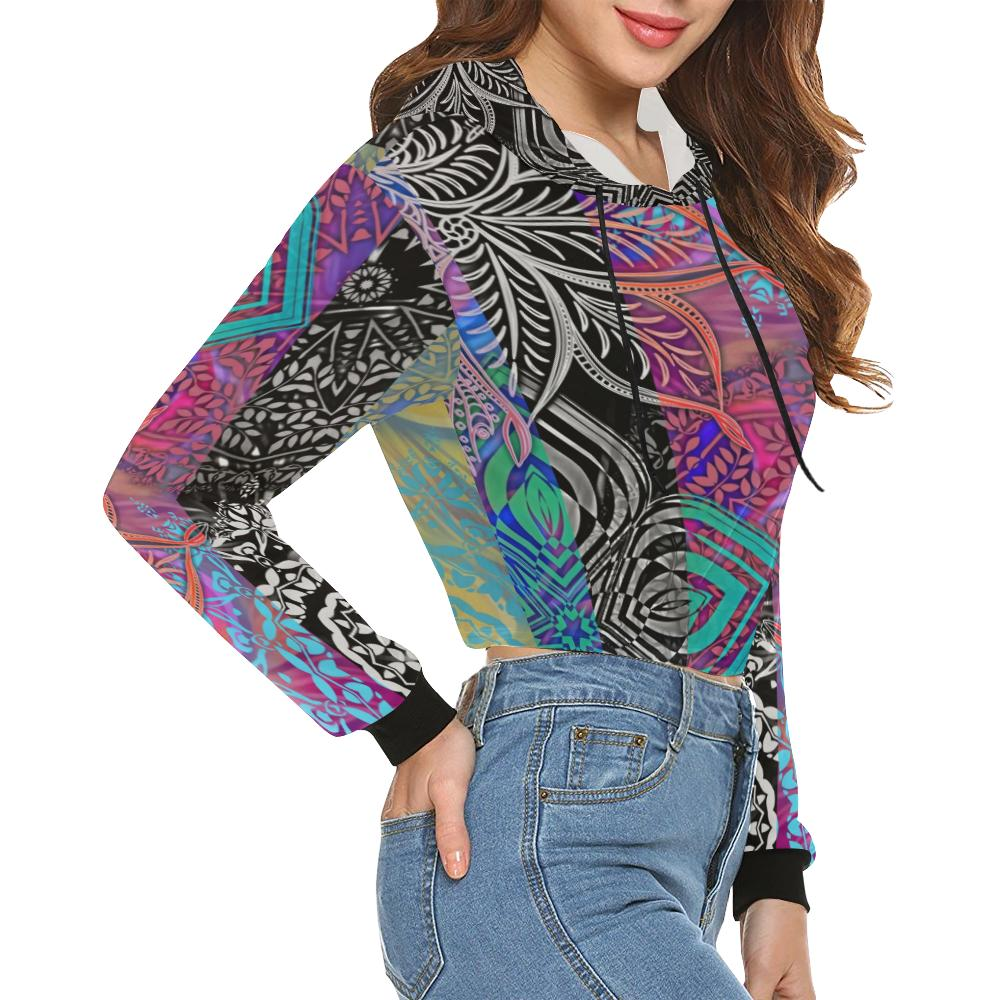 Sacred Geometry Multi Color Cropped Hoodie - Maui Woke