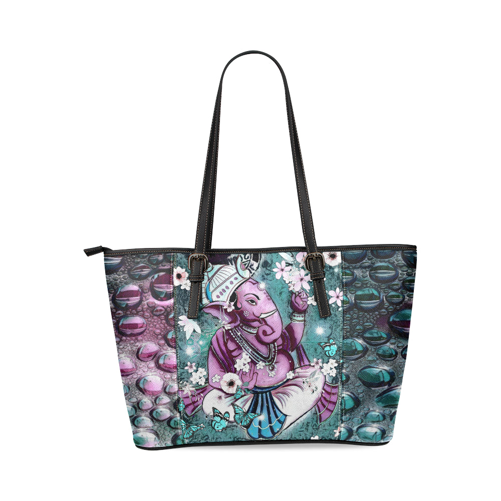 purplegeshatote Leather Tote Bag(Model1640) (Small), Tote bags - Maui Woke